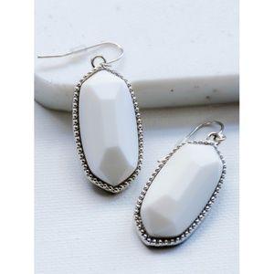 Jewelry - •||WHITE||• OVAL STONE SILVER HOOK DETAIL EARRINGS